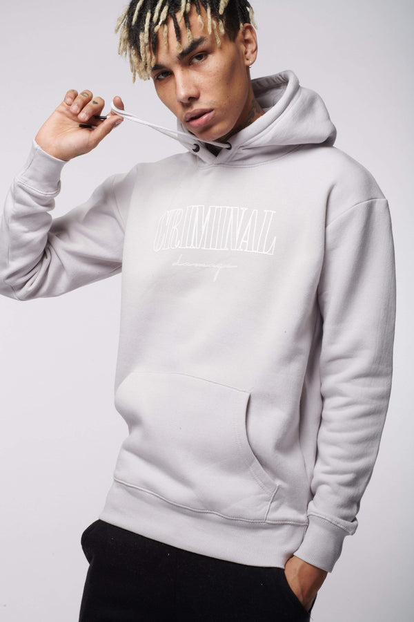 Criminal Damage HOODIES CRAFT HOODIE LIGHT GREY