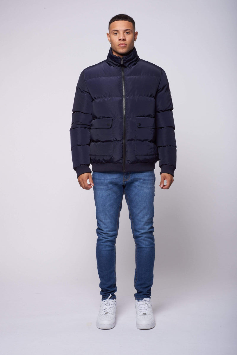 Criminal Damage JACKET Lyon Nylon Puffer Jacket - Navy