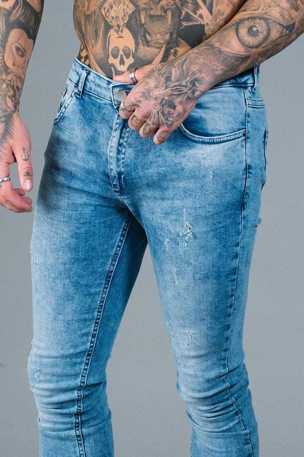 Criminal Damage JEANS Notting Spray Jeans - Light Blue