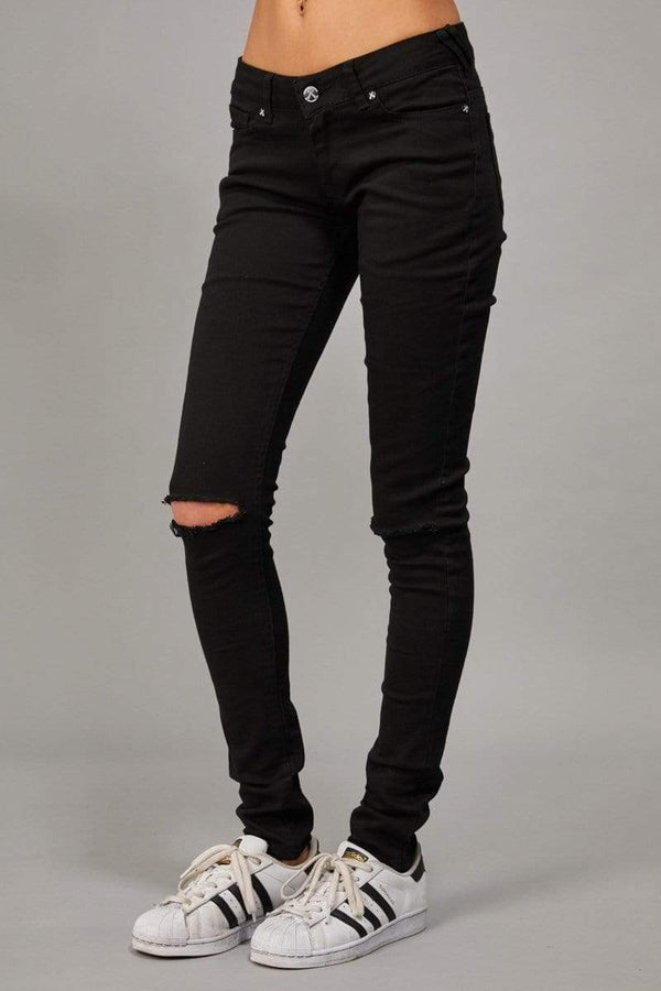 Criminal Damage JEANS Ripper Skinny Jeans - W -  Black/Black