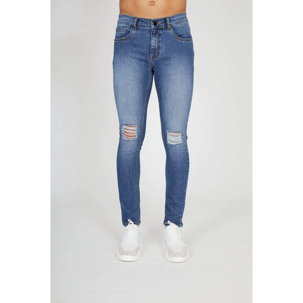 Criminal Damage JEANS Sustainable Destroy Skinny Jeans - Mid Blue