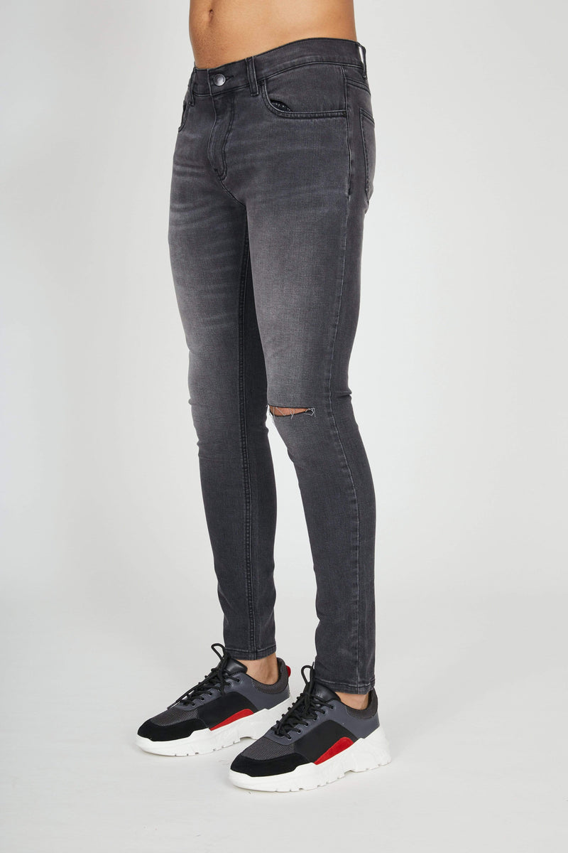 Criminal Damage JEANS Sustainable Essential Rip Skinny Jeans - Grey Wash