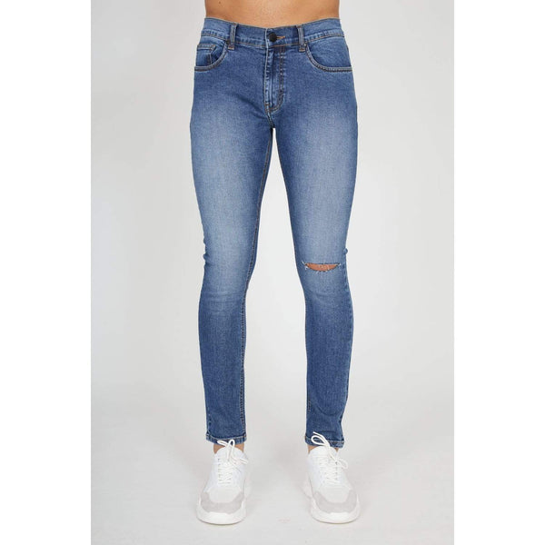 Criminal Damage JEANS Sustainable Essential Rip Skinny Jeans - Mid Wash