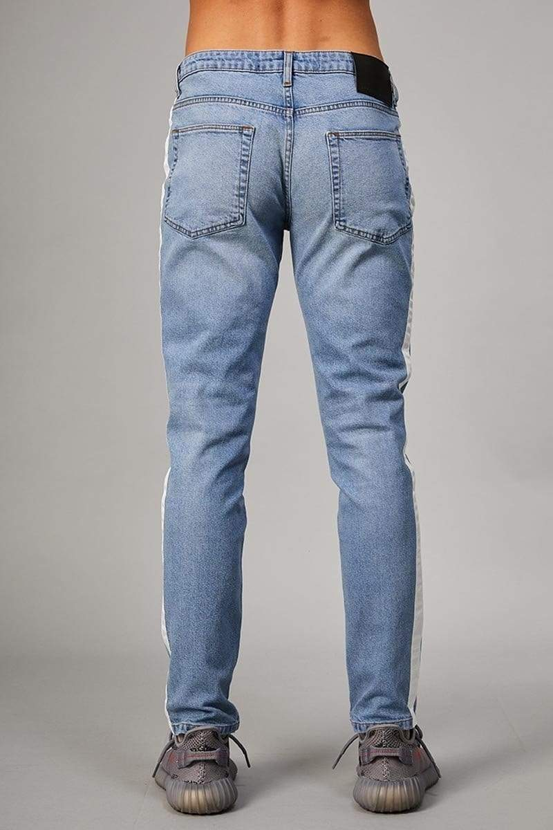 Criminal Damage JEANS Tape Skinny Jeans - Blue/Ecru