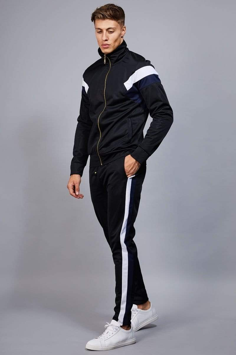 Criminal Damage JOGGERS Cuccio Track Pants - Black/ Navy