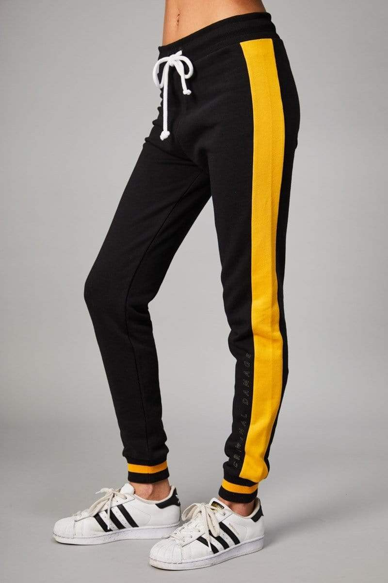 Criminal Damage JOGGERS Dalson Jogger - Black/Yellow