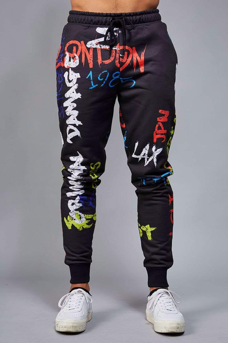 Criminal Damage JOGGERS Graffiti Jogger - Black/ Multi