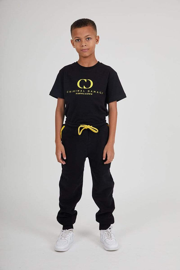 Kids Co-ordinate Jogger- Black / Reflective Yellow