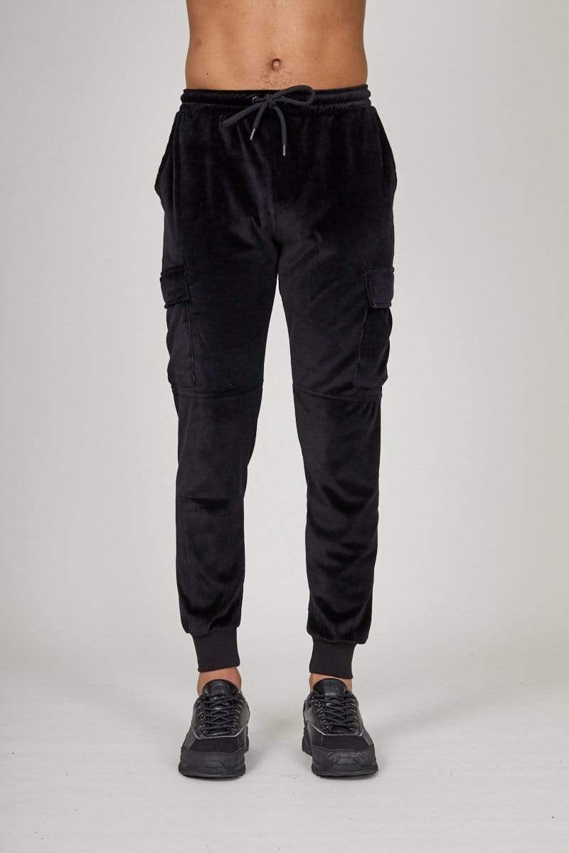 Criminal Damage JOGGERS Velour cargo jogger - Black