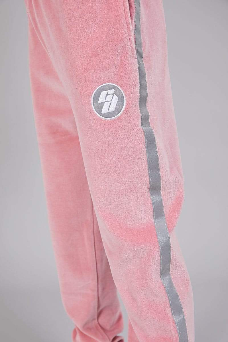 Criminal Damage JOGGERS Velour Joggers with Reflective Tape - Pink
