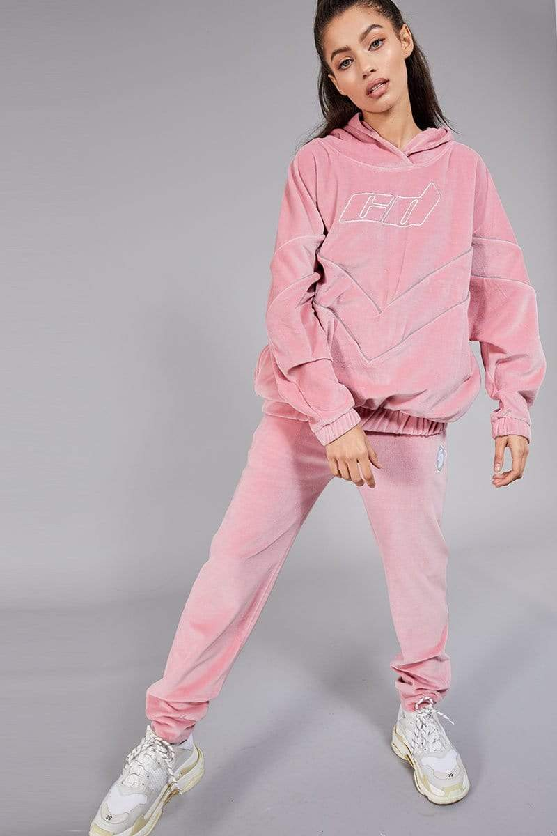 Criminal Damage JOGGERS XS Velour Joggers with Reflective Tape - Pink