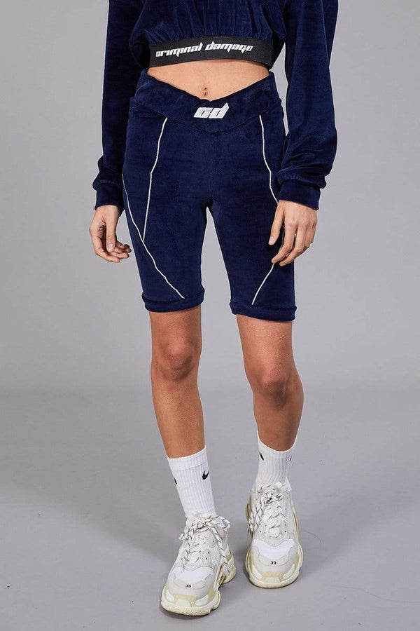 Criminal Damage LEGGINGS Structured Legging Shorts in Velour - Navy