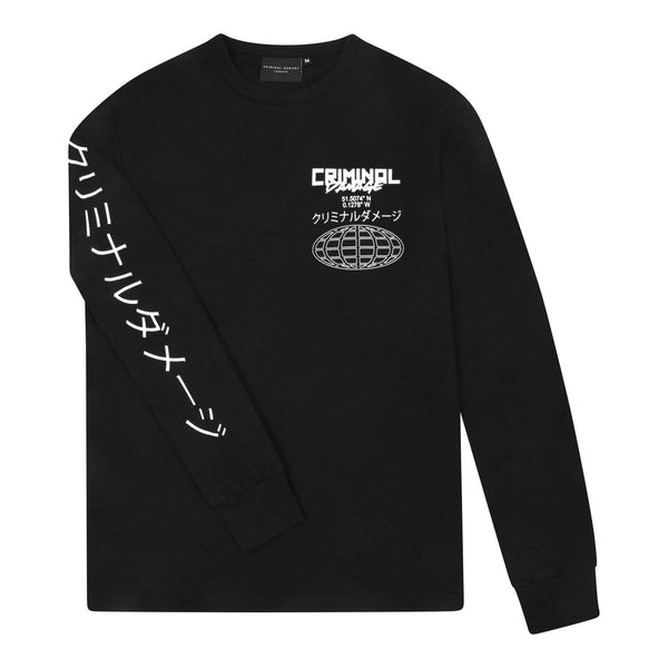 Criminal Damage Longsleeve Globe LS Tee - Black