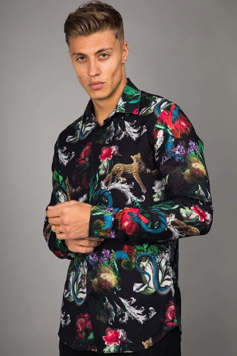 Criminal Damage SHIRT Dominic Shirt - Black/ Multi