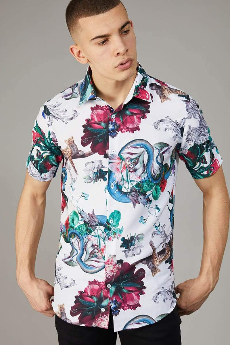 Criminal Damage SHIRT Dominic SS Shirt - White / Multi