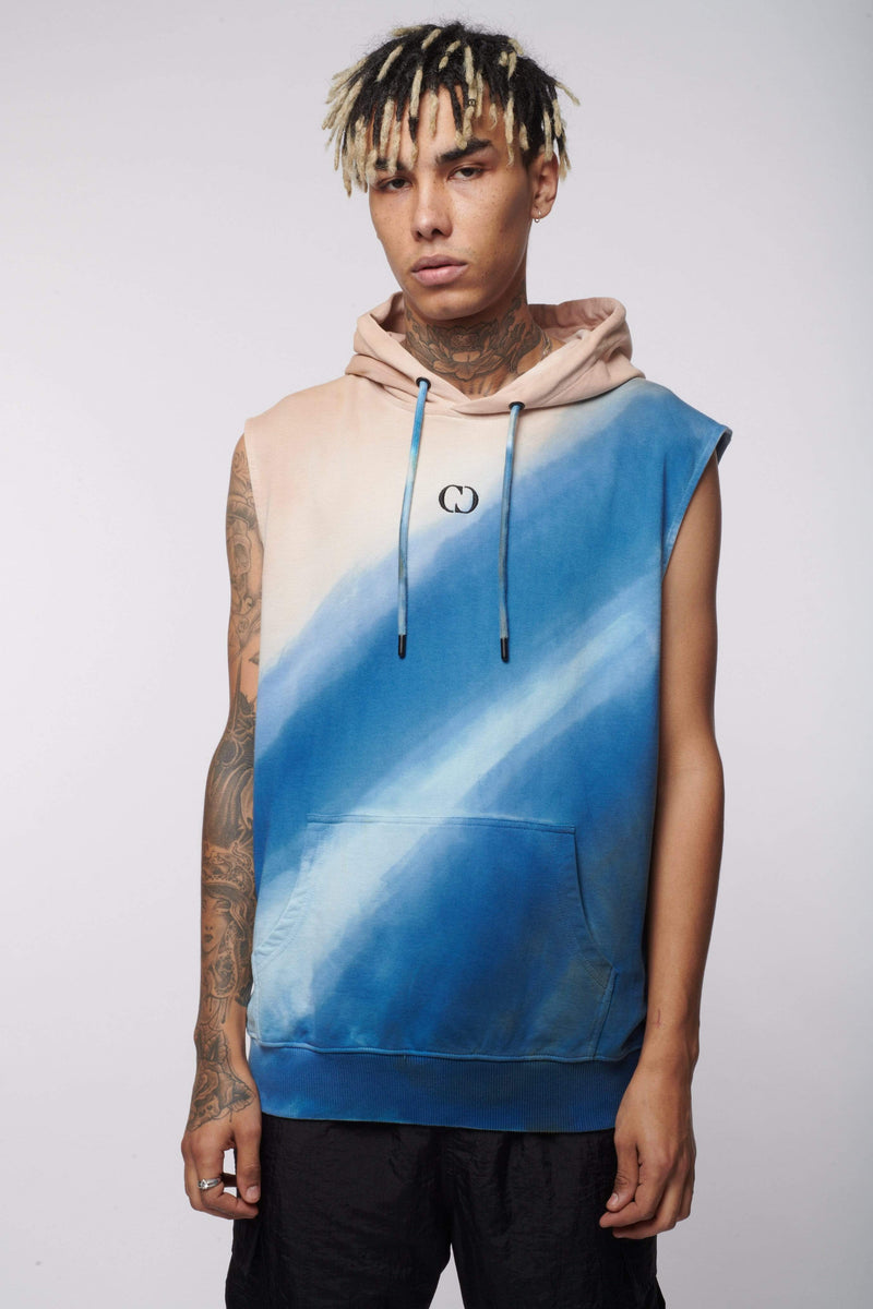 Criminal Damage Store HOODIES BLUE TIE DYE SLEEVELESS HOOD - MULTI