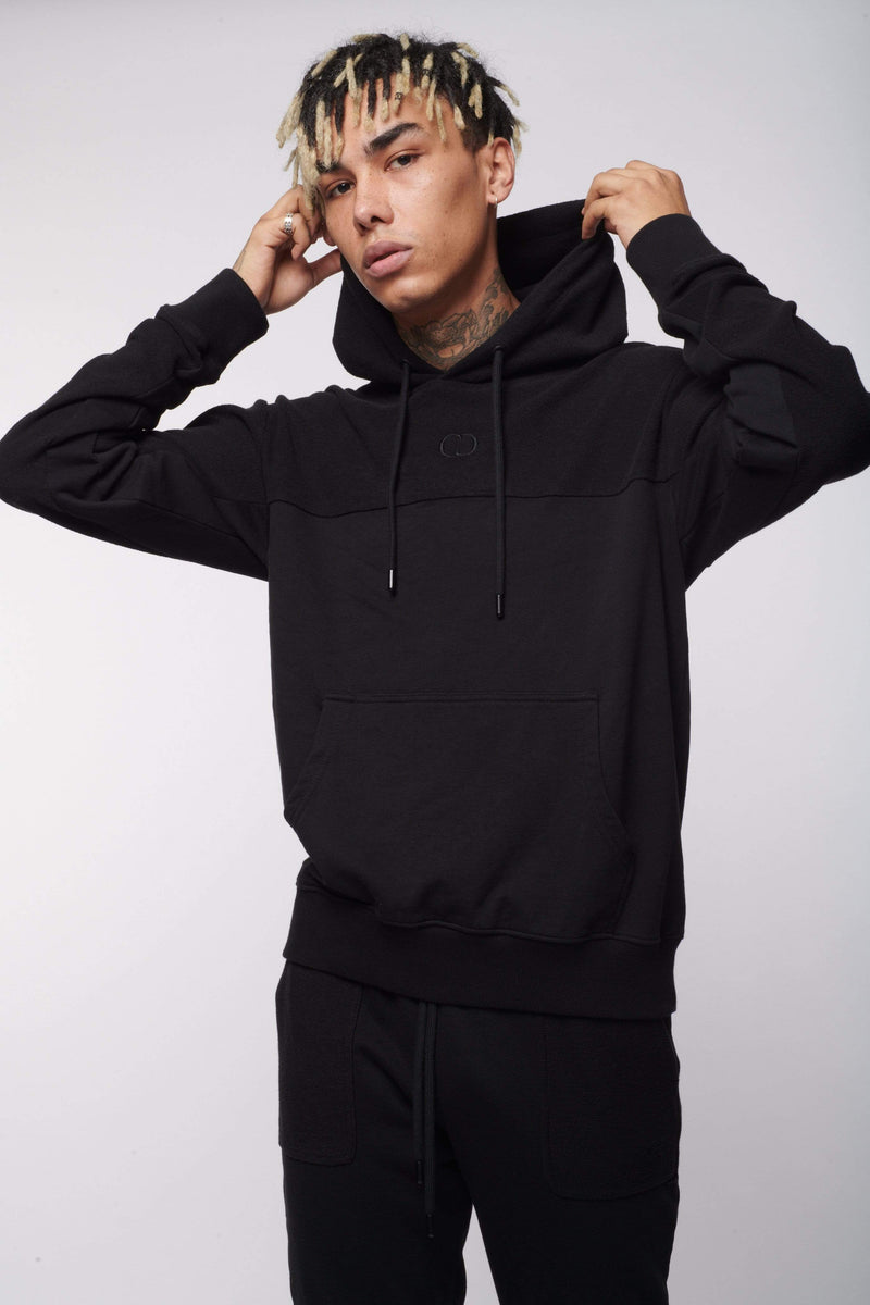 Criminal Damage Store HOODIES REVERSE LOOPBACK HOOD - BLACK