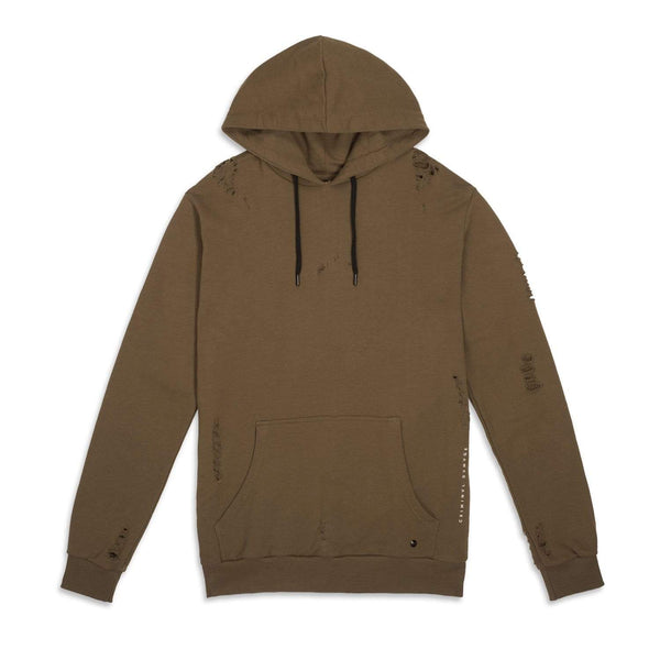 Criminal Damage Store SHOREDITCH HOODIE BROWN - SIZE M