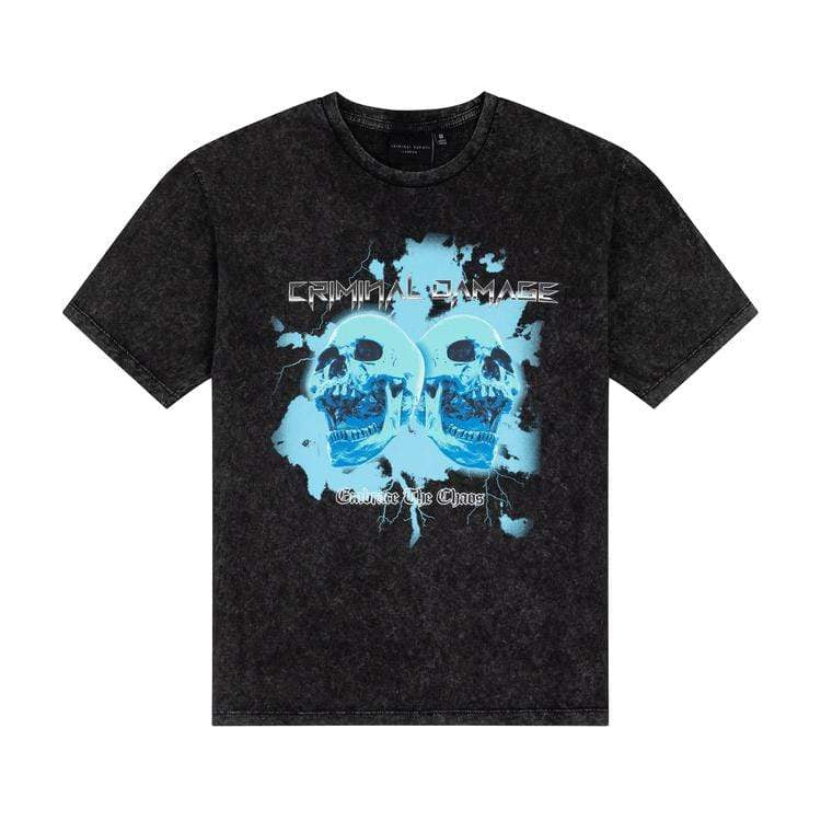 Criminal Damage Store T-SHIRT CHAOS TEE - BLACK WASH