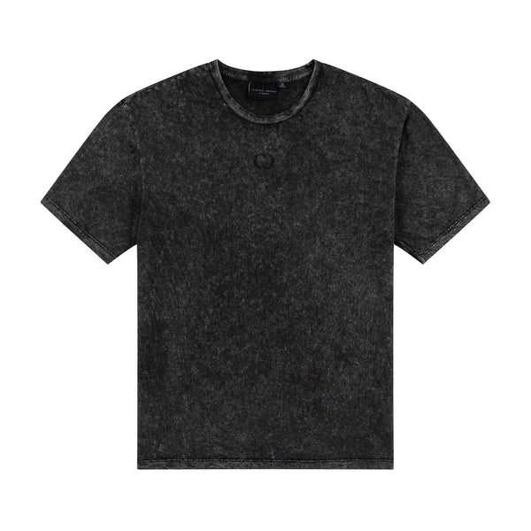Criminal Damage Store T-SHIRT HYBRID TEE - BLACK WASH