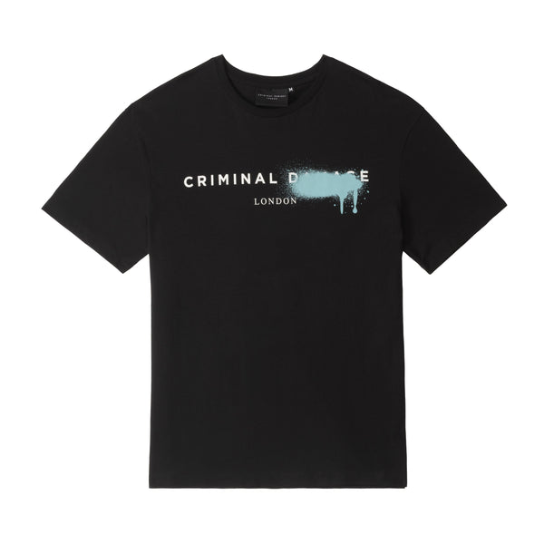 Criminal Damage Store T-SHIRT LOGO SPRAY TEE - BLACK
