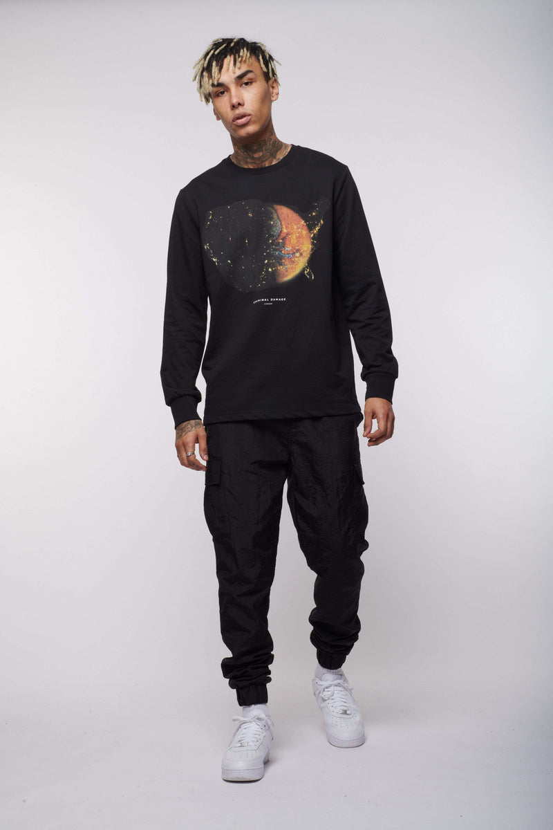 Criminal Damage Store T-SHIRT SPACE LS TOP  - BLACK
