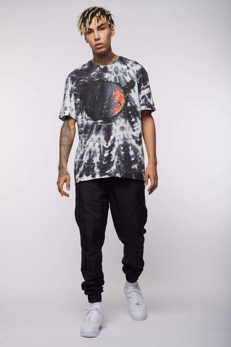 Criminal Damage Store T-SHIRT SPACE TIE DYE  - BLACK