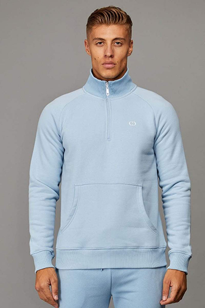 Criminal Damage SWEATSHIRT Light-blue / XS Muscle Core Half Zip Top