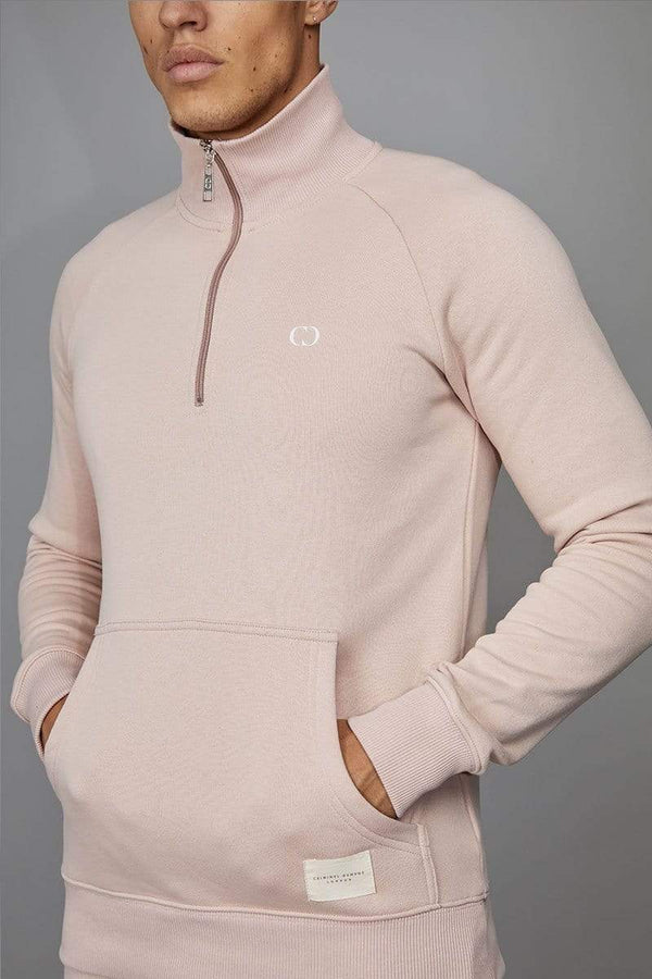 Criminal Damage SWEATSHIRT Pink / XS Muscle Core Half Zip Top