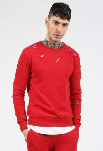 Criminal Damage SWEATSHIRT Shoreditch Sweater - Red