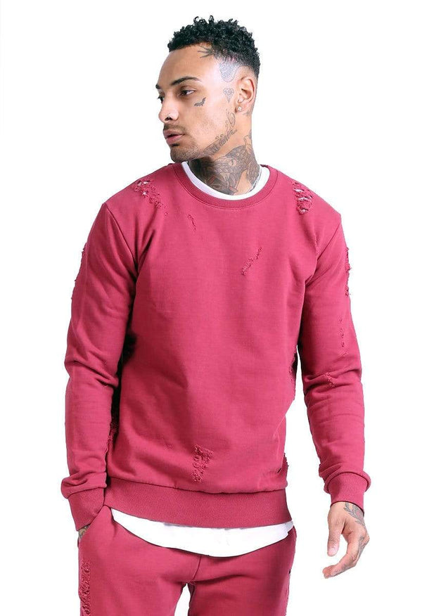 Criminal Damage SWEATSHIRT Shoreditch Sweater - Ruby/Ruby