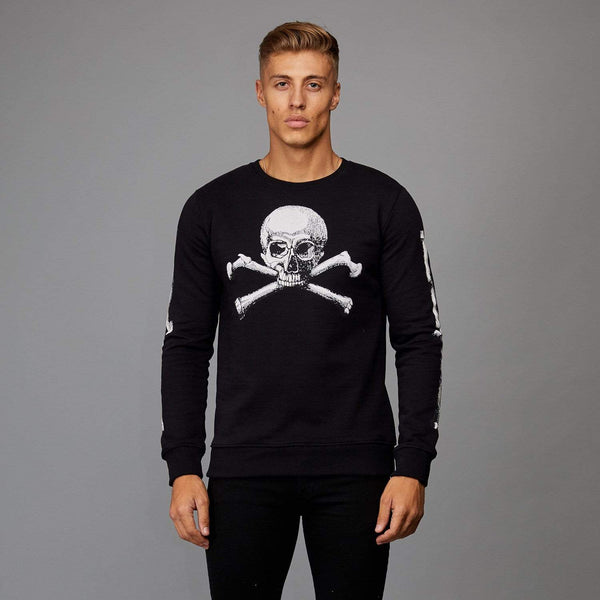 Skull Crossbones Sweater - Black/ White