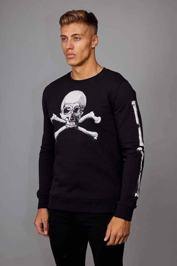 Criminal Damage SWEATSHIRT Skull Crossbones Sweater - Black/ White