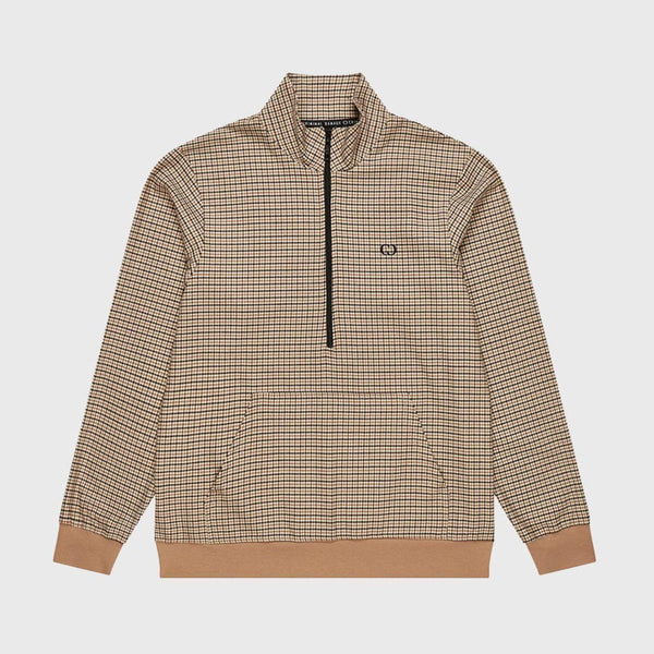 Wise Tartan Track Top - Brown