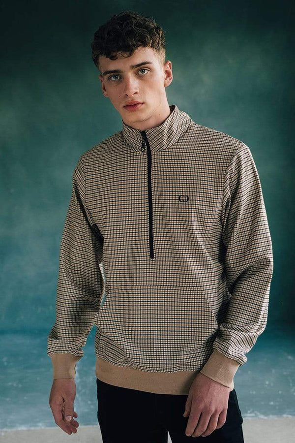 Criminal Damage SWEATSHIRT Wise Tartan Track Top - Brown