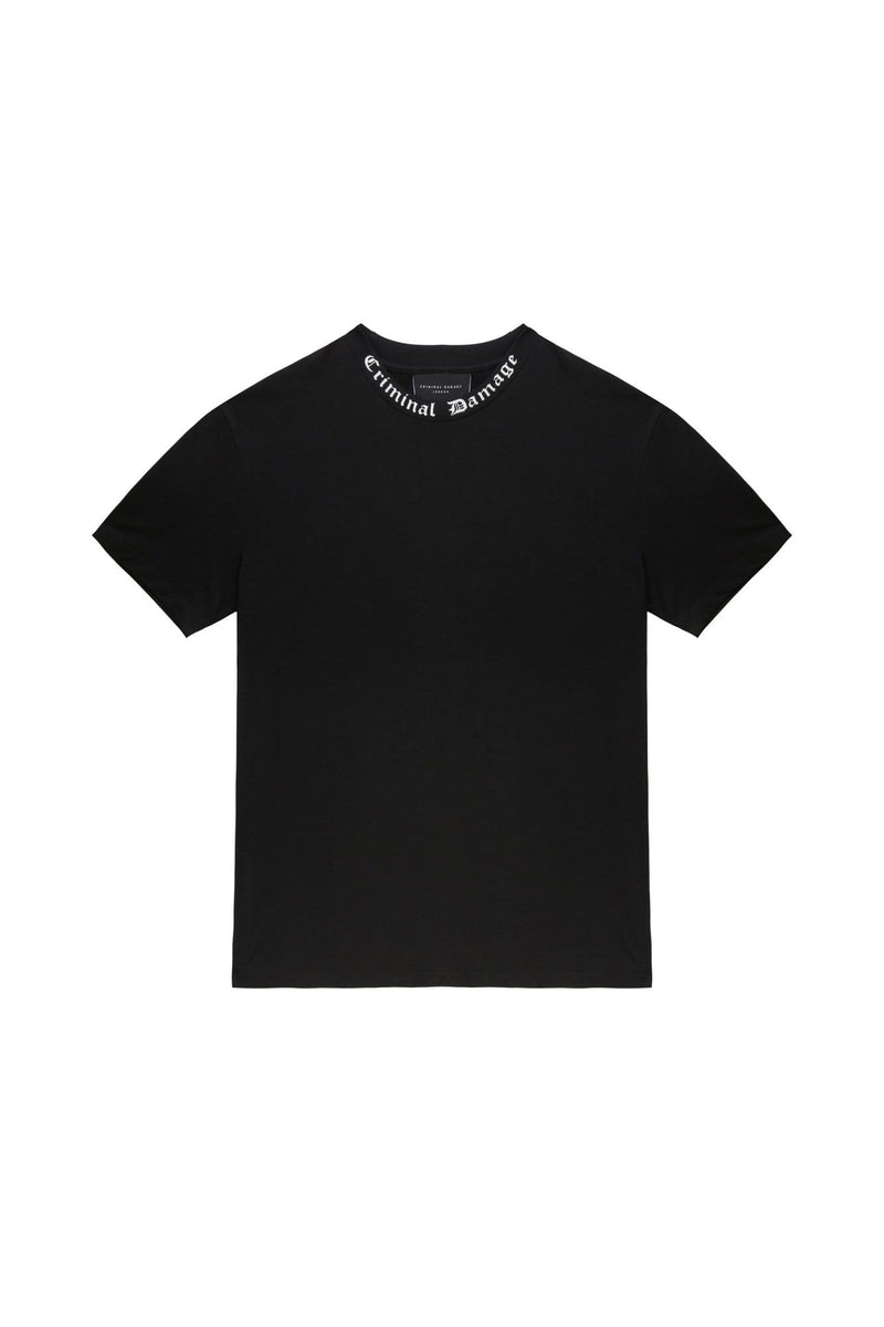 Criminal Damage T-SHIRT 3-4 YEARS / Black Kids Goth Collar Tee - White