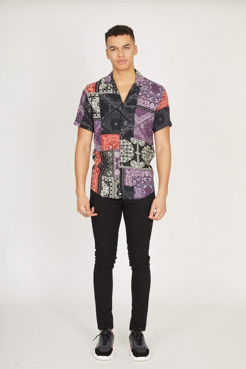 Criminal Damage T-SHIRT Bandana Shirt - Black/Multi