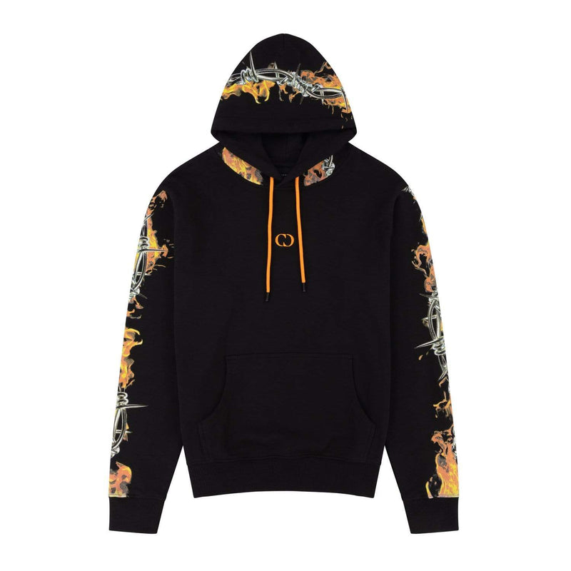 Criminal Damage T-SHIRT Barb Flame Hood - Black