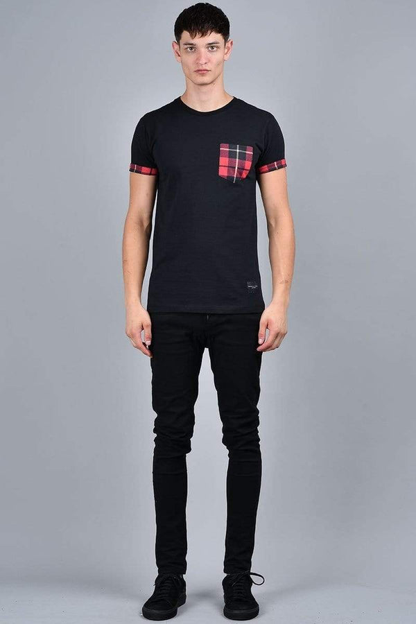 Check Pocket Tee - Black