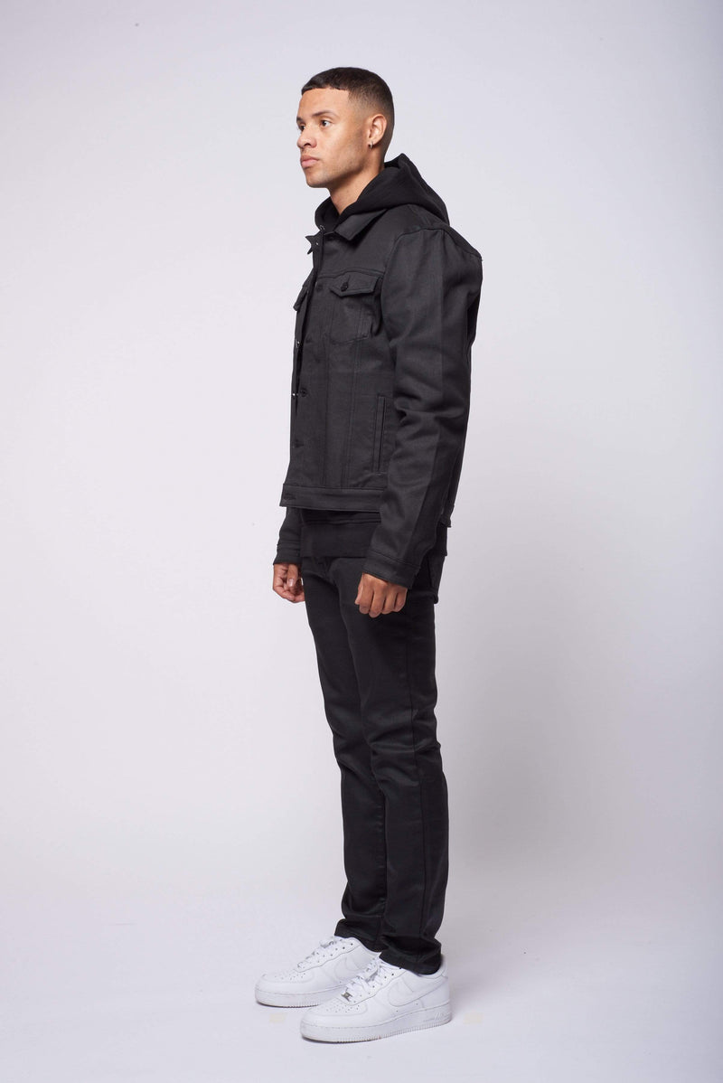 Criminal Damage T-SHIRT Coated Denim Jacket - Black