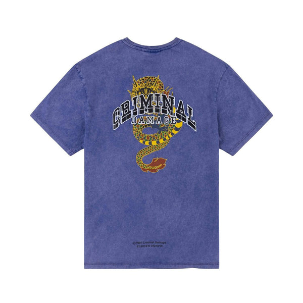 Criminal Damage T-SHIRT College Dragon Tee - Washed Purple