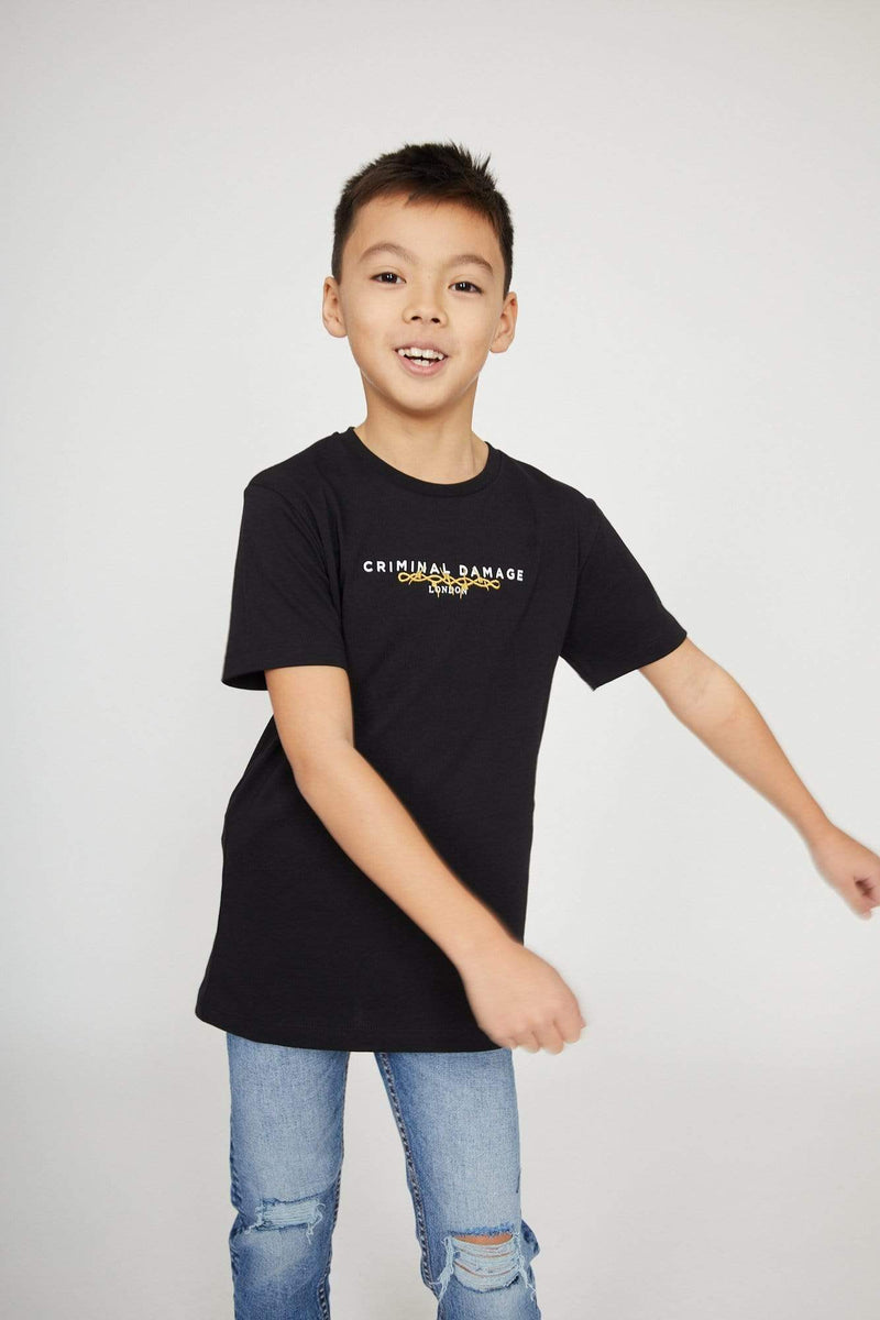 Criminal Damage T-SHIRT Kids Barb Spine Tee - Black