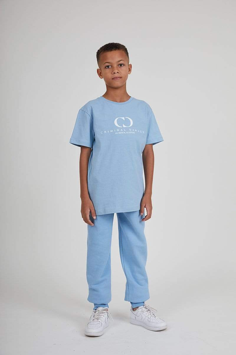 Kids Co-ordinate Tee - Blue / Reflective White