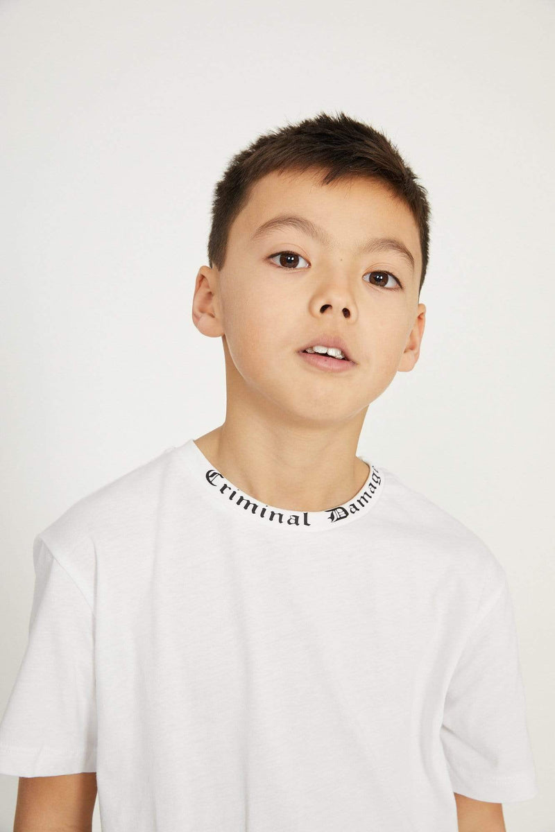Criminal Damage T-SHIRT Kids Goth Collar Tee - White