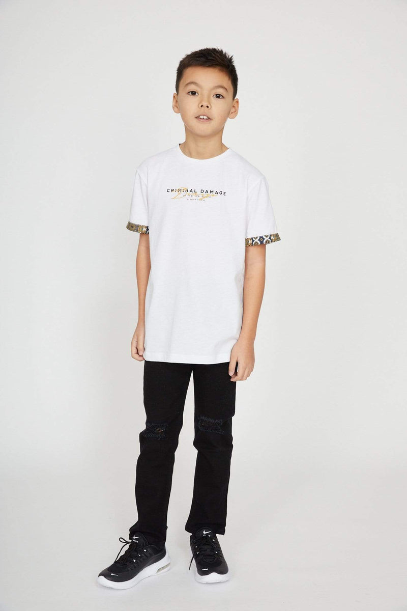 Criminal Damage T-SHIRT Kids Signature Tee - White