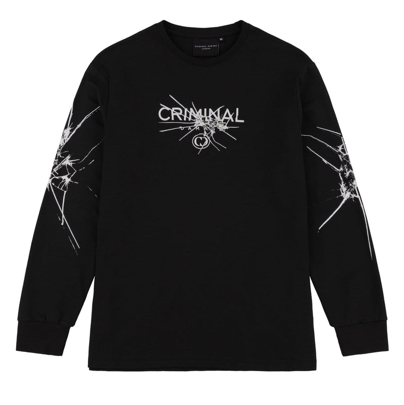 Criminal Damage T-SHIRT Smash LS Top  - Black