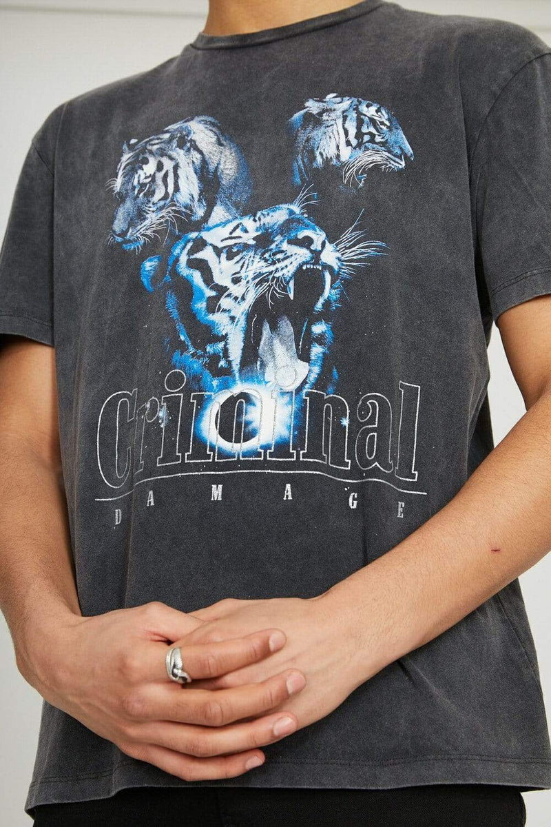 Tiger Collage Tee - Washed Black