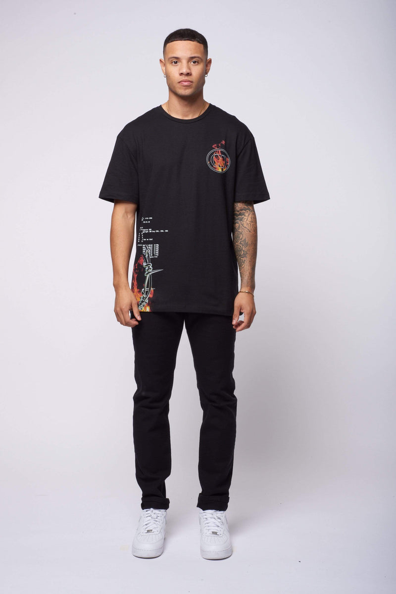 Criminal Damage T-SHIRT Wire Flame Tee - Black