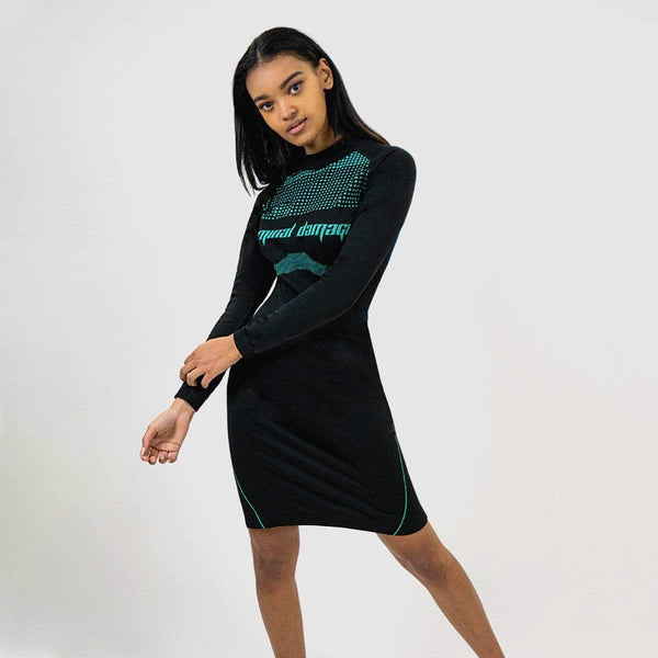 Criminal Damage Top SAGE DRESS - BLACK/TEAL