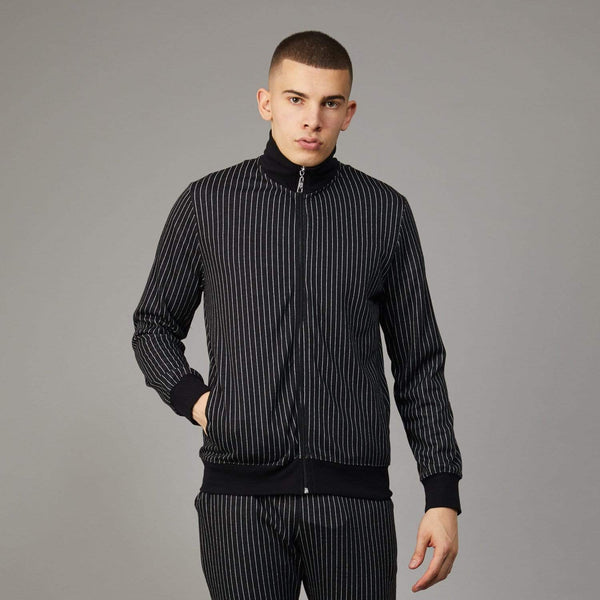 Pinstripe Track Top - Black
